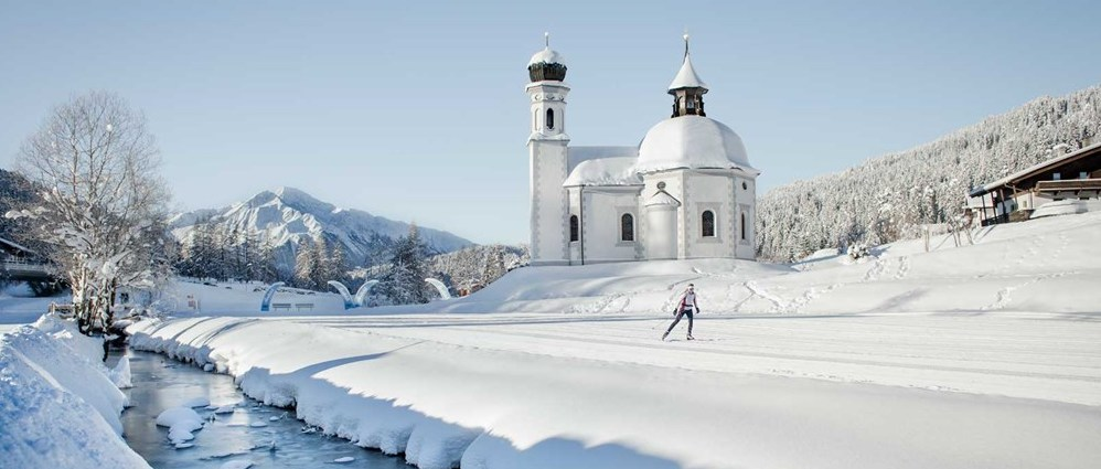 cross-country skiing in Tyrolian mountains
